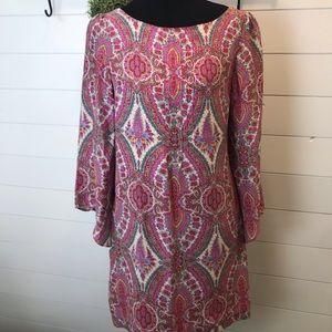 Zara Woman 100 % Silk Paisley Dress